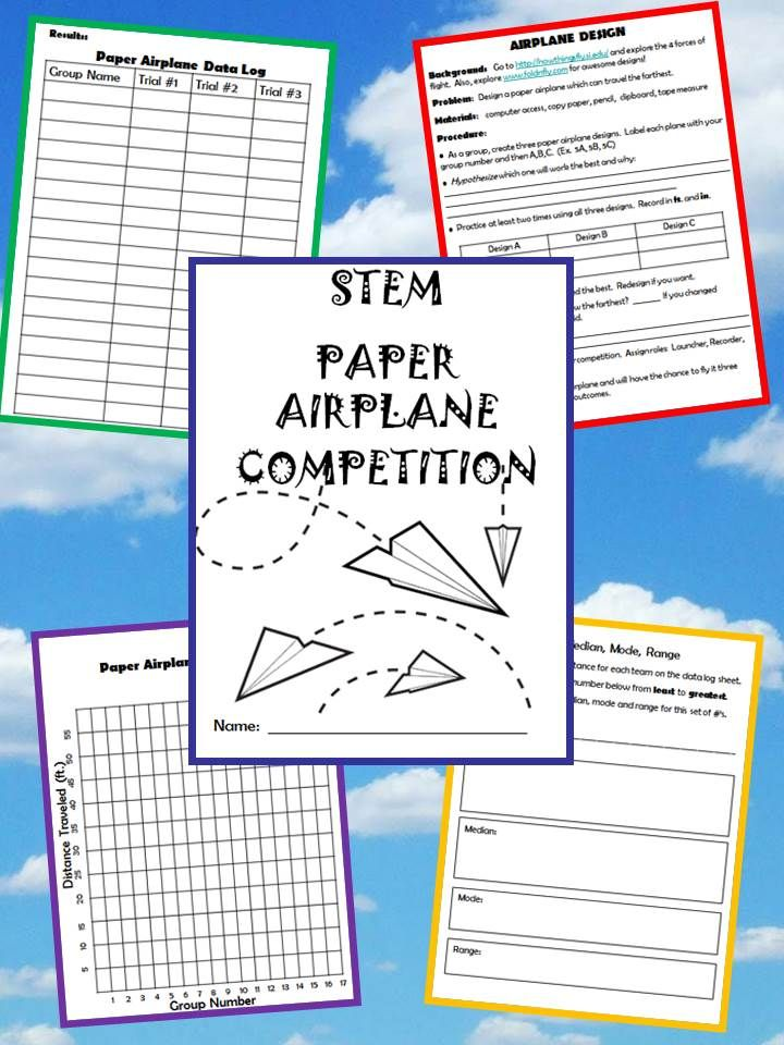 """Use the basic STEM principles when designing your own paper airplane. You could add to this activity by researching the four factors of flight and tried and true paper airplane designs before you begin. Then, have a class competition! I put my students in groups of 2-3. They come up with a group name. After they have developed their """"winning"""" design, we go to an open space in the school and launch the competition. SO FUN!!!"""