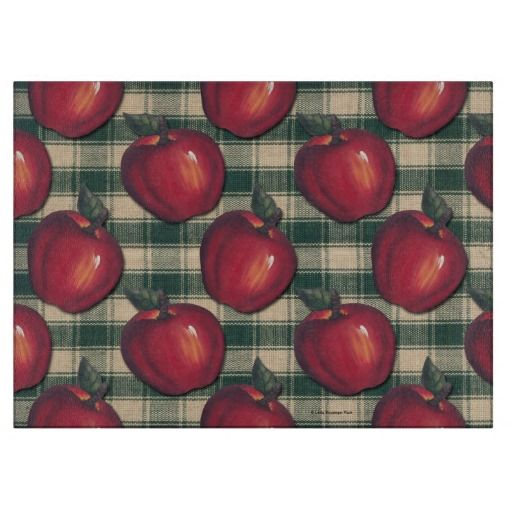 Red Apples Green Plaid Cutting Board