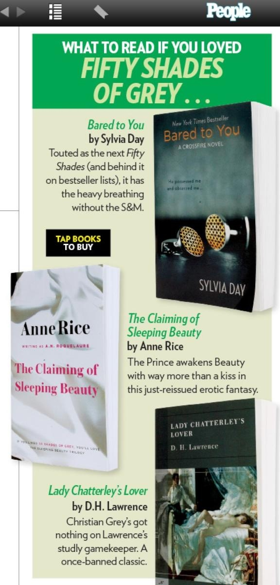 What to read if you loved 50 Shades of Grey. People magazine - August 13, 2012 issue