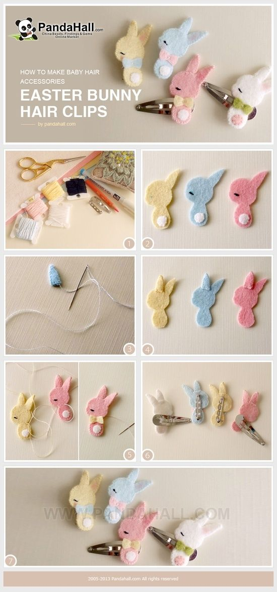 Felt   Easter Bunny Hair Clips