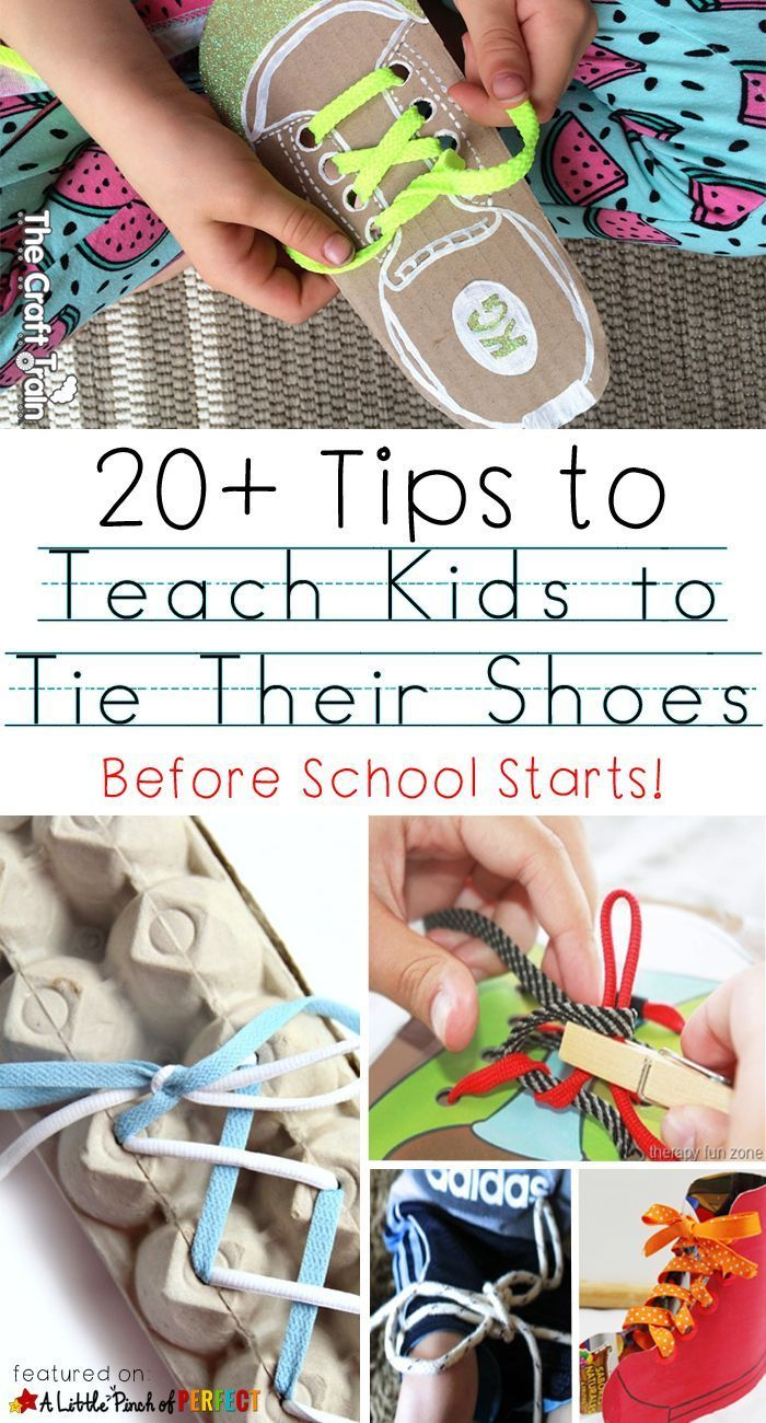 20+ Tips for Teaching Kids How to Tie Their Shoes: Send kids to school with lace up shoes they can tie so Teacher doesn't have to. (kindergarten, back to school, fine motor control)