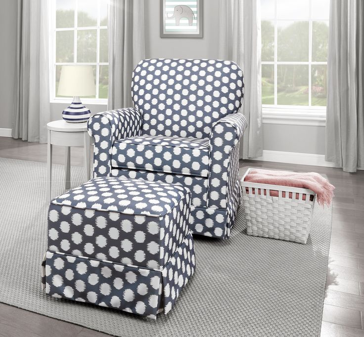 Enhance your nursery with the #Storkcraft Polka Dot Upholstered Swivel  Glider and matching Ottoman # - 23 Best Take A Seat: Gliders And Ottomans Images On Pinterest
