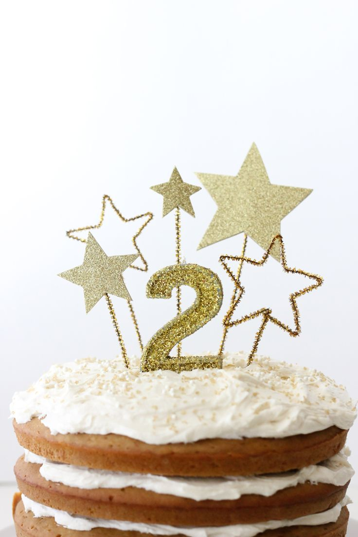 Gold Star Cake Toppers (& Allergy Free Frosting) - delia creates