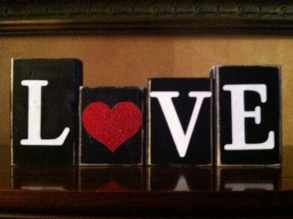 Wood LOVE Blocks Valentines day Blocks  by WoodnExpressions, $15.00