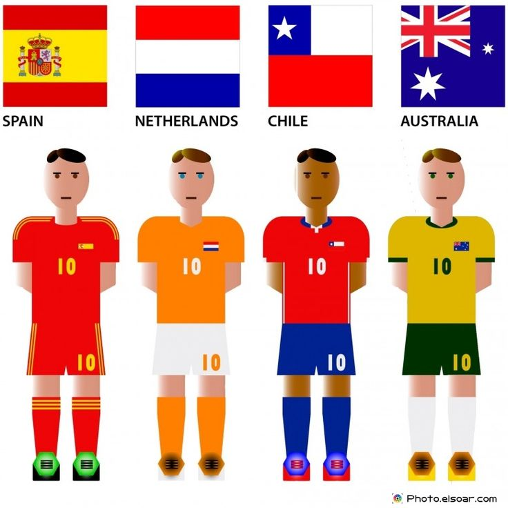 #WorldCup 2014 Group B Teams with #Flags: Spain, Netherlands, Chile, Australia
