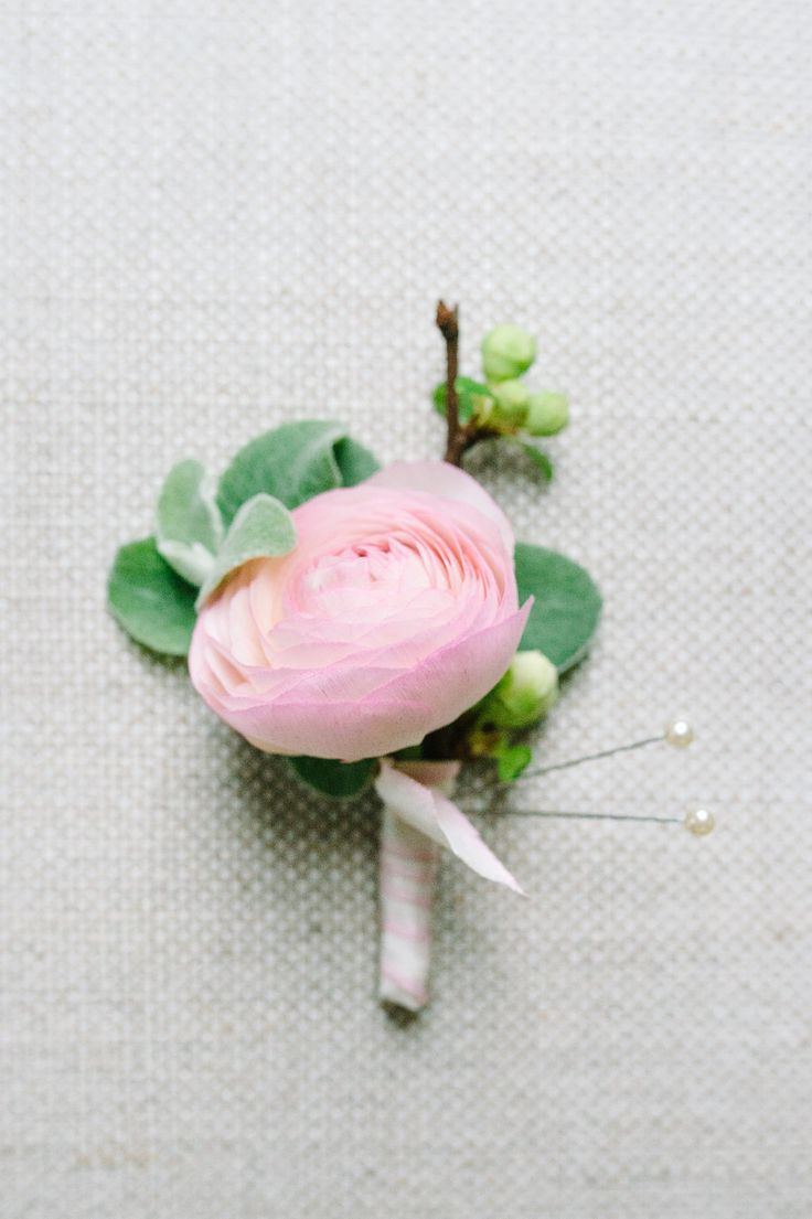 Single Pink Ranunculus Boutonniere