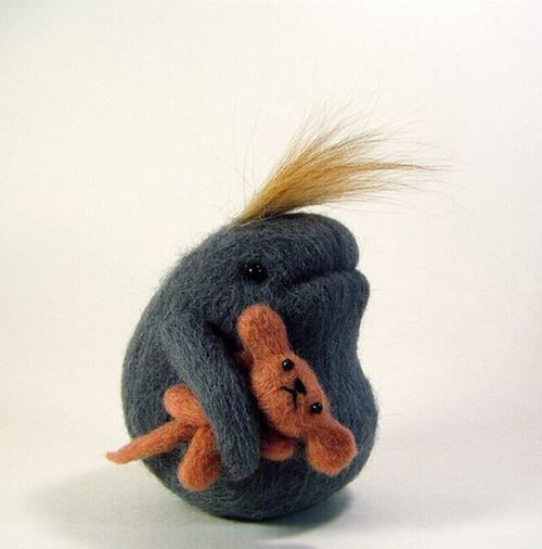 Felt creature by Kit Lane_ I hope they are friends!