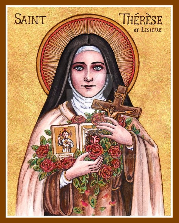"""After my death, I will let fall a shower of roses. I will spend my heaven doing good upon earth. I will raise up a mighty host of little saints. My mission is to make God loved..."" - Saint Thérèse of Lisieux. St. Therese icon by Theophilia.deviantart.com on @DeviantArt"