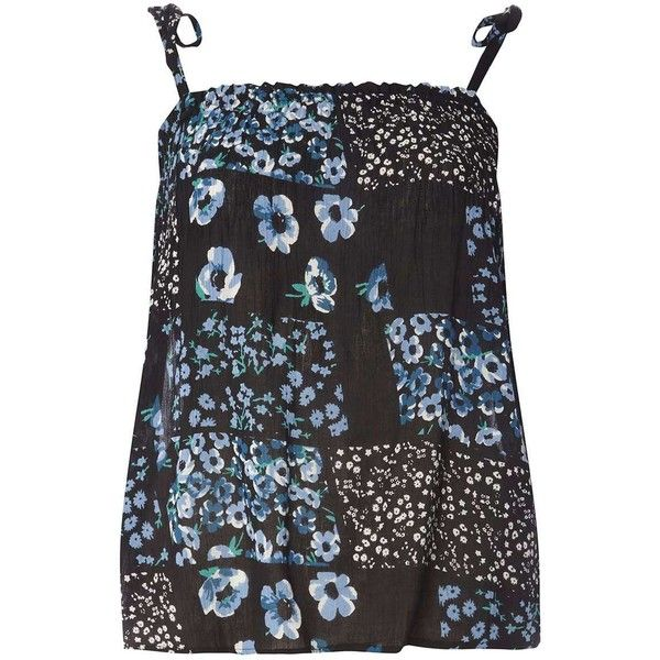 Dorothy Perkins Patchwork Floral Tie Camisole Top (1060 TWD) ❤ liked on Polyvore featuring tops, black, viscose tops, flower print tops, camisole tops, strappy cami and floral cami