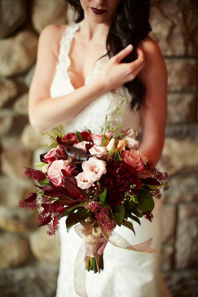 Wedding Bouquet Of Burgundy Peonies Pink Lisianthus Seeded Eucalyptus Sweetberry Roses