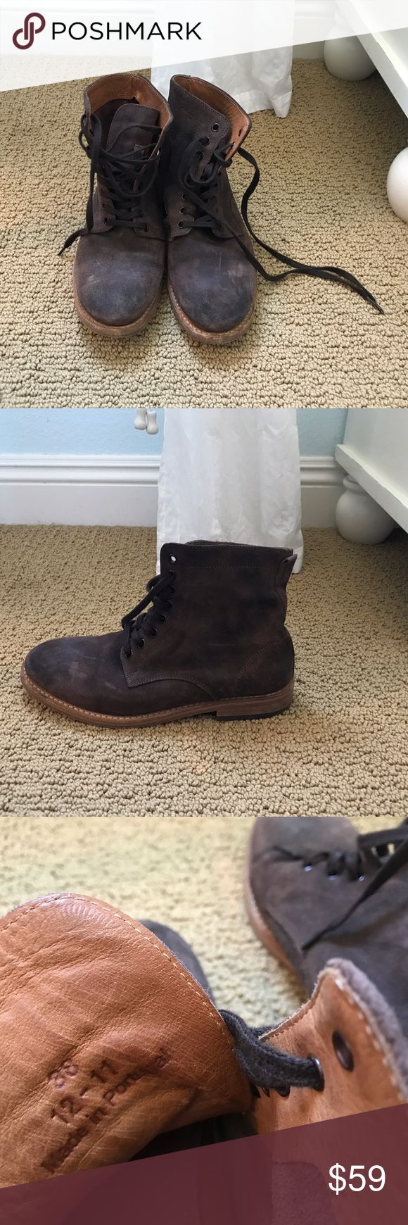 Hudson Shoes Suede Brown Boots Size 7.5 Beautiful quality, made in Portland. I got them a couple years ago, don't think they make this model anymore. They're suede and have some signs of use but just normal wear and tear. H By Hudson Shoes Lace Up Boots