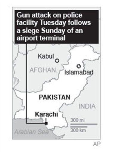 Map locates Karachi, Pakistan, where gunmen attacked.; 1c x 3 inches; 46.5 mm x 76 mm; ▼10Jun2014AP|Pakistan forces repel attack near Karachi airport http://bigstory.ap.org/article/pakistani-army-airstrikes-kill-15-militants #Karachi