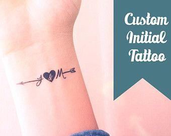 Set of 2 Custom initial arrow temporary tattoo personalized gift - InknArt Temporary Tattoo - fake tattoo wedding tattoo