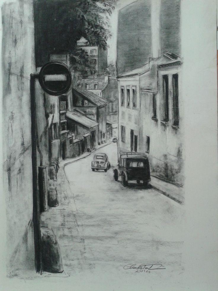 Rue parisienne Carboncino - Tecnica a negativo