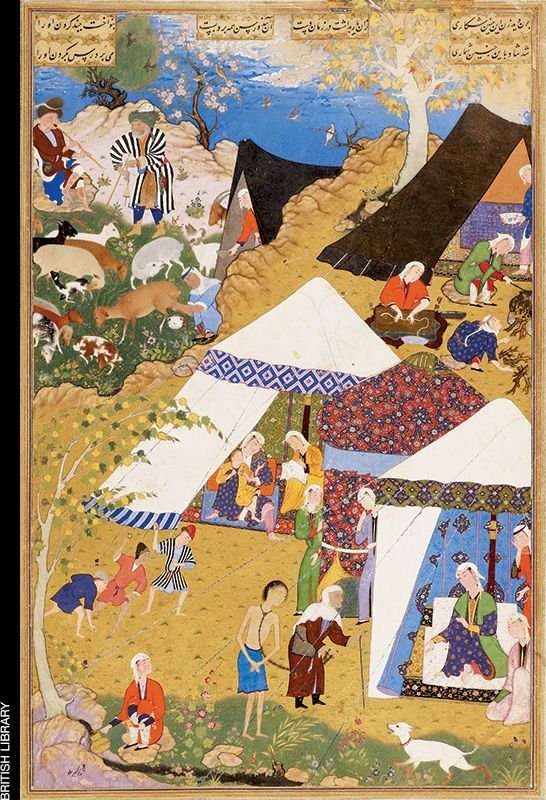 This painting comes from the Khamsa of Nizami, a book of masterpiece illustrations produced in mid-16th-century Tabriz. It depicts an episode in the 12th-century Persian epic tale of Majnun—shown here in chains—and Layla, who awaits his arrival at her tent. In the background, at upper right, artist Mir Sayyid Ali included four cooks: One holds meat over a fire tend- ed by another; one brings a bowl, and one woman uses both hands to roll what is likely reshteh, a Persian word for pasta.