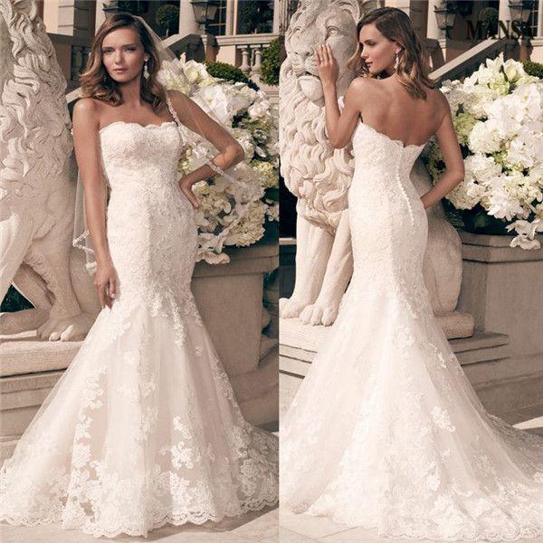Модные спинки без бретелек русалка свадебные платья 2015 без бретелек кисть поезд кружевные аппликации свадебные платья Vestidos Novia