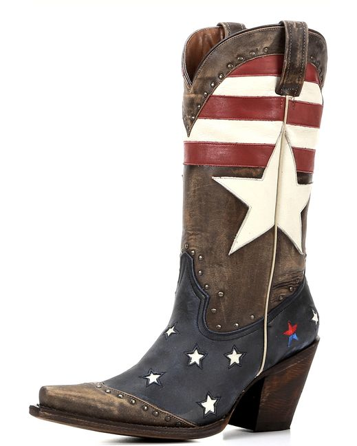 The Freedom Boot by Redneck Riviera is a new take on patriotic fashion. Covered in stunning details, the base of the boot is vintage cinnamon leather. Each side of the upper features red and white stripes and a large white star. Navy blue leather and white stars on the foot complete the design, and scattered studs provide extra flair. Show your love for American with the Freedom Boot by Redneck Riviera. <div><br></div><div>Redneck Riviera has created a line of authentic Southern boots. ...