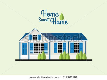 Vector Illustration of Home Sweet Home - stock vector