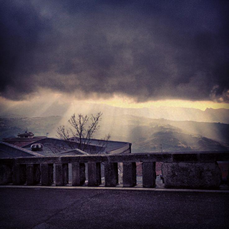 San Marino after the rain #beautiful #magical #sunrays #clouds #rain #hills