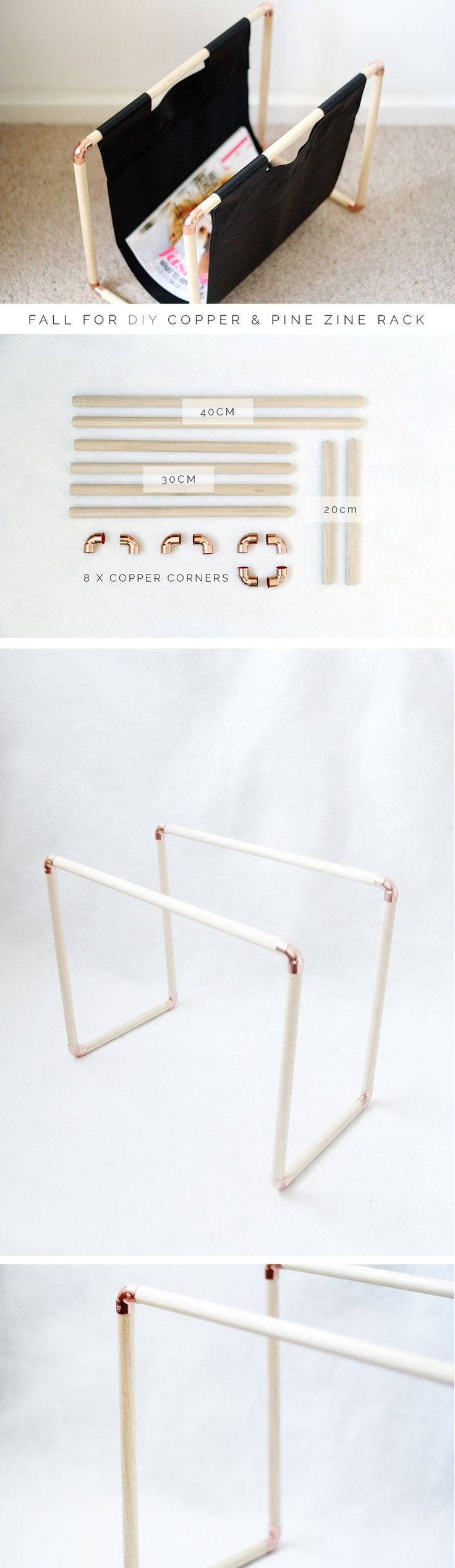 Copper Pipe Magazine/Record Rack Fall For DIY