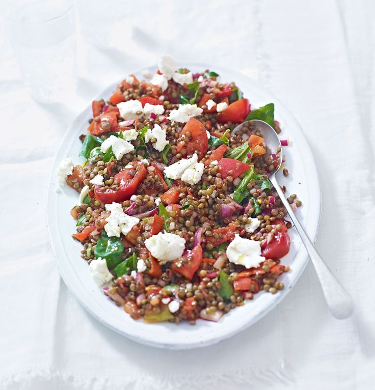 A filling salad of puy lentils, goat's cheese and tomato, all ingredients can be sourced for £5.