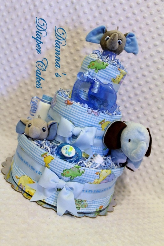 Blue Elephants Baby Diaper Cake Shower Gift or Centerpiece created by www.diannasdiapercakes.com