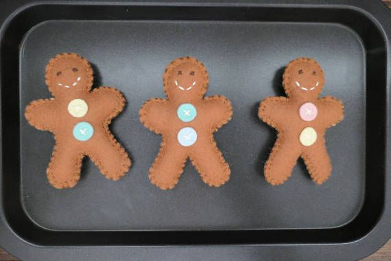 The perfect addition to your pretend kitchen! The cutest gingerbread man cookies. Each of the three cookies is two sided, raw and baked!! Kids can practice rolling out the dough and cutting out their cookies before putting they on the cookie tray. Just before they are done baking flip them
