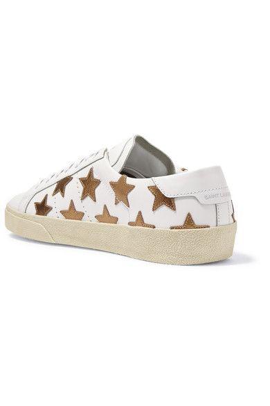 Saint Laurent - Court Classic Appliquéd Leather Sneakers - White