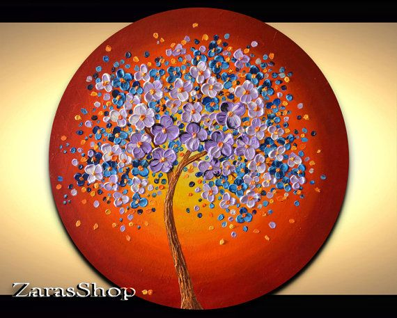 Original art abstract lavender blue cherry blossom tree painting on 20 inch circle canvas is a colorful wall art that will be ideal for the home or