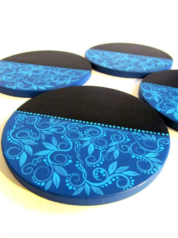 Coasters Black and Blue Hand Painted Stone Coaster Set four