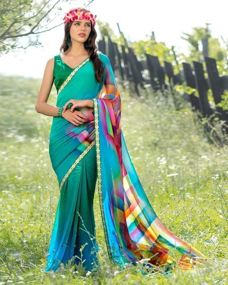 Beat the heat with your lively presence in this multicoloured saree for today's women #womensfashion #sarees #georgettesaree