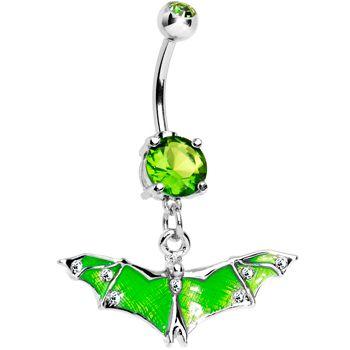Green Gem Neon Flying Bat Dangle Belly Ring | Body Candy Body Jewelry  #bodycandy