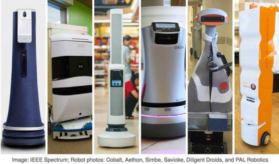 Indoor robots gaining momentum - and notoriety   Three recent events demonstrated the growing awareness of indoor mobile robots: (1) Saviokes hotel butler robot won the 2017 IERA inventors award;(2) Knightscopes security robot mistook a reflecting pond for a solid floor and dove face-first into it to the delight of Twitterdom and the media;and (3) the sale of robotic hospital delivery provider Aethon to a Singaporean conglomerate.  Hospital mobile robot firm sells to Singaporean conglomerate…
