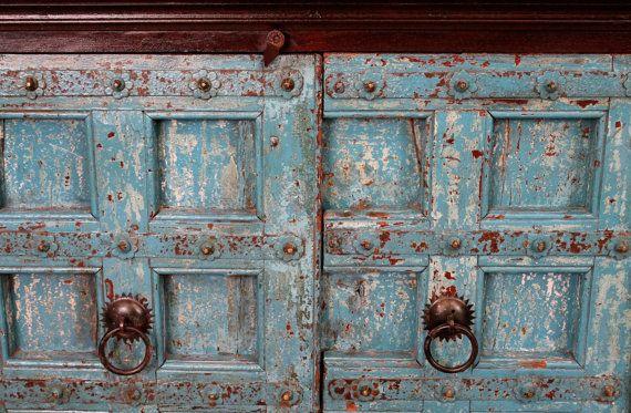 SALE Blue Antique Door Sideboard by hammerandhandimports on Etsy, $1245.00