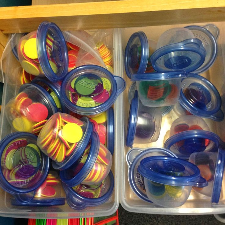 Math Center Organization- This looks so much better than a bunch of baggies.