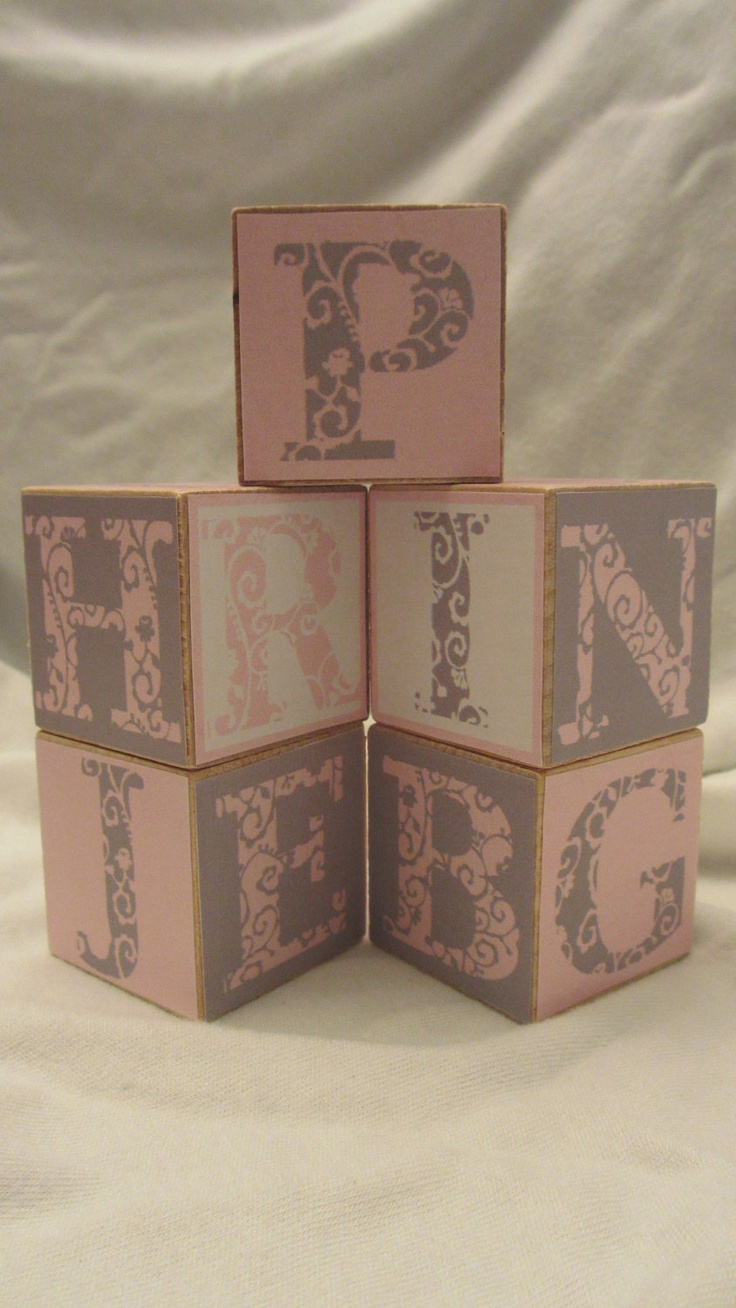pink grey modern alphabet 5 wood blocks girls nursery room With letter blocks for baby room