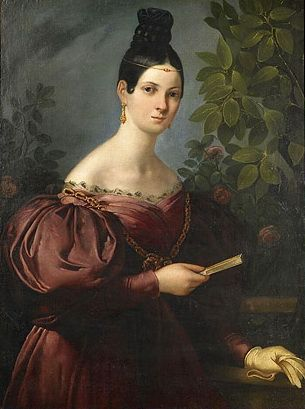 Maria Malibran nee María Felicitas García Sitches; by anonymous, c. 1830, Maria was a famous opera singer who died at the age of 28.