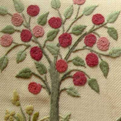 Crewel Embroidered Tree. Quick design for small gift