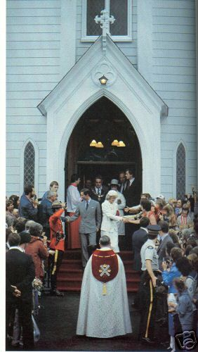 June 19, 1983: Prince Charles and Princess Diana greeting the crowd that have gathered to see them outside All Saints Anglican Church after attending a 200th Anniversary celebration of the founding of St. Andrews by-the-Sea, New Brunswick. (Day 6)