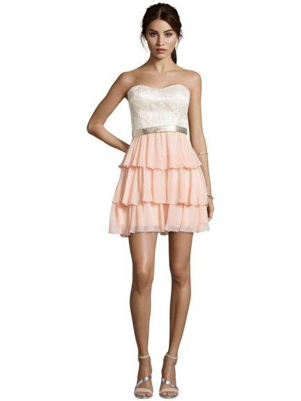 LAONA Bandeau-Cocktailkleid mit Rockteil im Stufen-Look Light Beige/Ballerina Blush