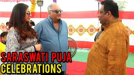 Sridevi & Boney Kapoor Spotted At Anurag Basus Saraswati Puja | موفيز هوم  Sridevi With Boney Kapoor Spotted at Anurag Basu's Saraswati Puja celebration