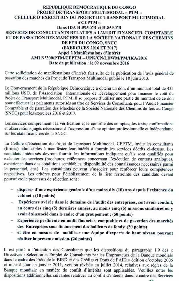 mediacongo.net - Appel d'offres - Services de Consultants relatifs à l'Audit Financie, Comptable et de passation des marchés de la Société Nationale des Chemins de Fer du Congo, SNCC (Exercices 2016 et 2017)