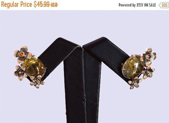 Genuine Golden Rutile Earring, Handmade Designer Earring, 925 Solid Sterling Silver Earring Jewelry, Golden Rutilated, INC-167
