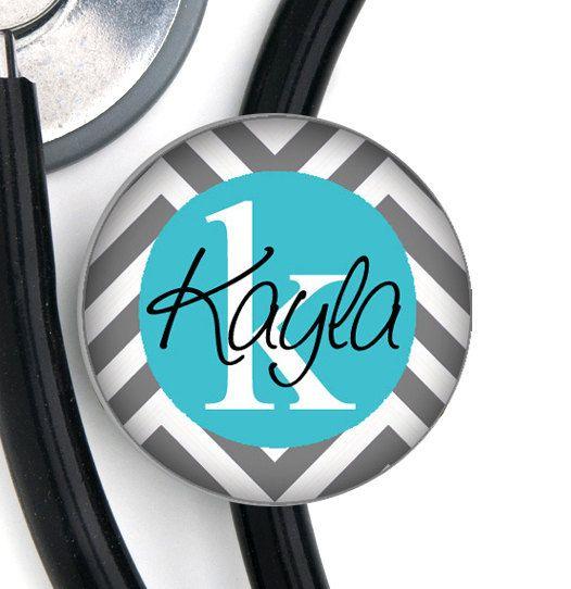 Stethoscope ID Tag - Custom Name - Grey and Tiffany Blue Chevron on Etsy, $7.99