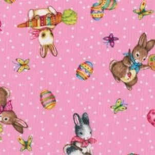 David Textiles - Pink Tossed Bunnies - cotton fabric
