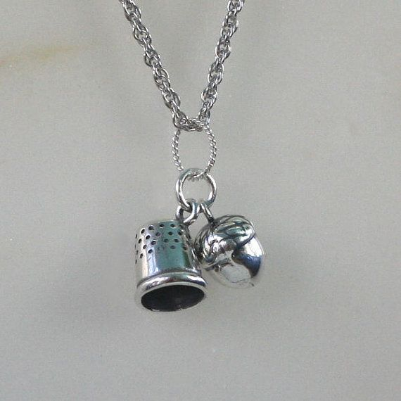 Acorn and Thimble Kisses Charm Necklace Peter Pan by HooliganAlley, $55.00  There is a need for this!