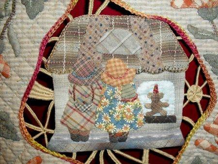 Reiko Kato applique quilt / wallhanging detail - Sunbonnet Sue and house