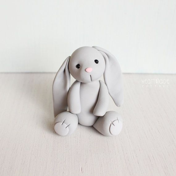 Gray Bunny Rabbit - original clay cake topper and keepsake - figurines by Heartmade Cottage