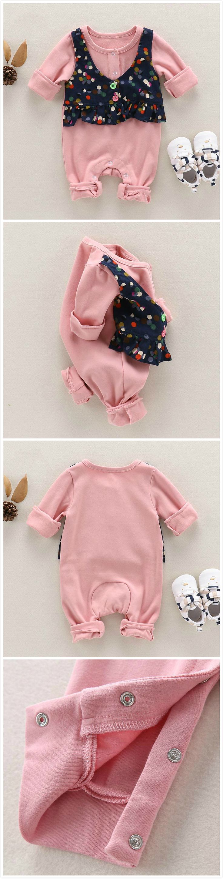 Pink Faux-Two Baby Girl Romper & Floral Vest For Autumn