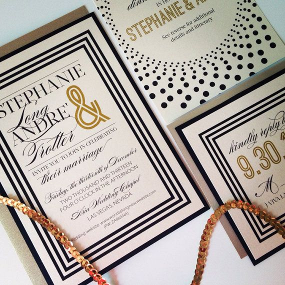 Ivory, Gold and Black Wedding Invitations - SUIT AND TIE - Modern Chic Wedding Invitations with gold envelopes via Etsy